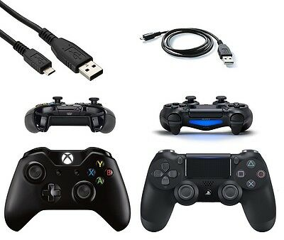 Black Micro USB Charger Cable for PS4 Dualshock 4 / Xbox One Wireless Controller