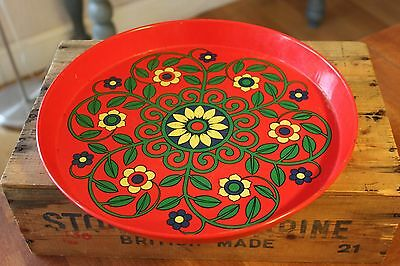 Vintage Round Red Patterned Painted Metal Serving Tray – Flowers – Retro! –