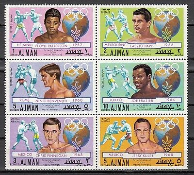 + Ajman, Mi cat. 1054-1059 A. Olympic Boxers issue.