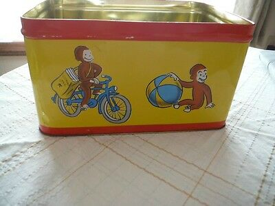 "curious george metal storage bin 13"" long x 9"" wide x 7"" deep Very cute monkey"
