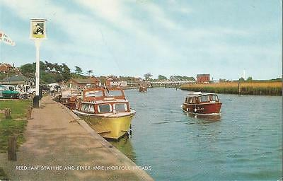 Reedham Staithe and River Yare Norfolk Broads Postcard by Salmon posted 1983