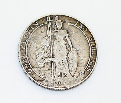 Edward VII Florin /Two Shillings Solid Silver Coin 1907? RARE