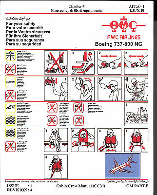 1 x AMC B737-800 NG SAFETY CARD *1/JUNE/10*