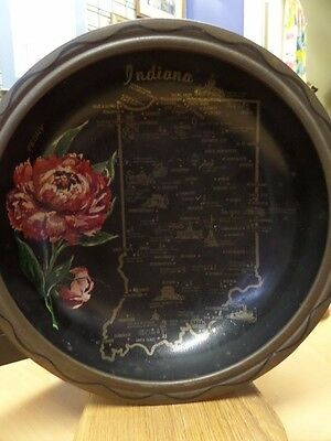 Vintage Indiana State Souvenir METAL Bowl w MAP State Flower 10.25""