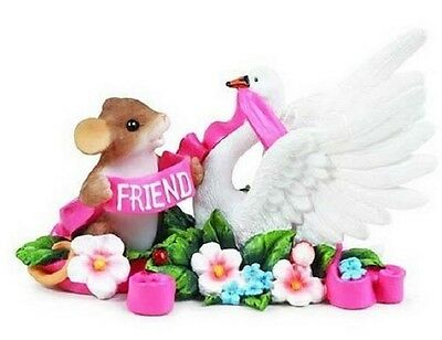 "Charming Tails ""graced With Your Friendship"" Mouse Swan 98/575 New Free Shipping"
