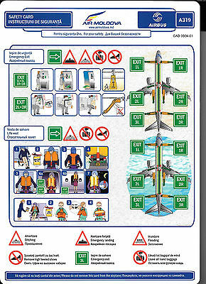1 x AIR MOLDOVA A319 SAFETY CARD