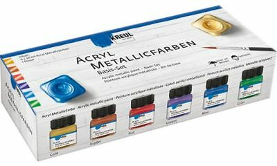 KREUL Acryl-Metallicfarbe, Basis-Set
