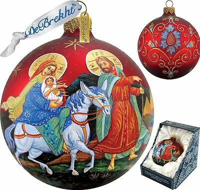 "G. DeBREKHT ""NATIVITY  BALL"" HAND PAINTED  GLASS ORNAMENT  NEW  * FREE SHIPPING"