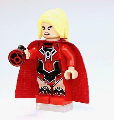 A1313 Lego CUSTOM PRINTED Dimensions Game RED LANTERN SUPERGIRL MINIFIG & RING