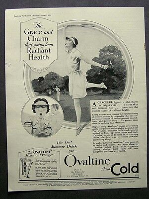 1930s advert for OVALTINE beverage mixed cold tennis game healthadvertising 1939
