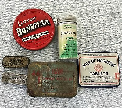 Collection of six small vintage tins.