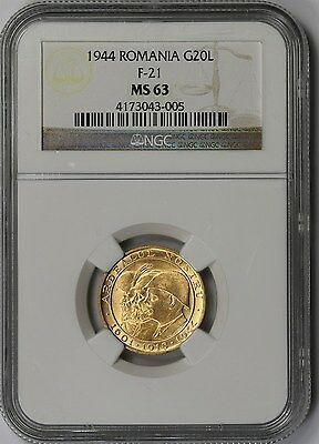 1944 F-21 Romania Gold 20 Lei G20L MS 63 NGC