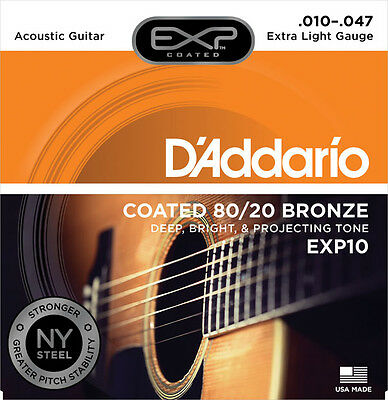 D'Addario EXP Coated 80/20 Bronze Acoustic Guitar Strings - Various Gauges