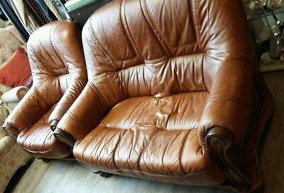 Two Seater Leather Sofas and chair