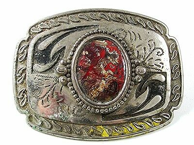 Vintage Western Cowboy Silver Tone & Natural Stone Belt Buckle 11117