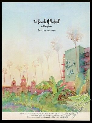 1989 The Beverly Hills Hotel and Bungalows illustrated vintage print ad
