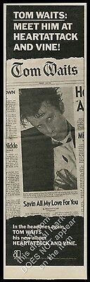 1980 Tom Waits photo Heartattack and Vine album release vintage print ad
