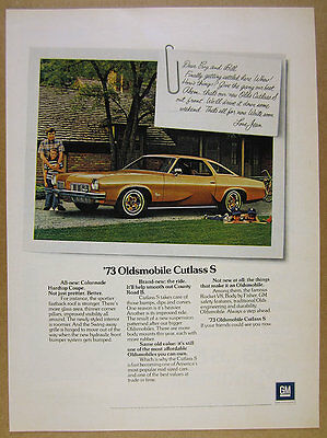 1973 Oldsmobile Olds CUTLASS S Colonnade Coupe car photo vintage print Ad