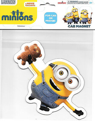 Minions Movie Teddy Bear Minion Large Car Magnet, NEW UNUSED #B582