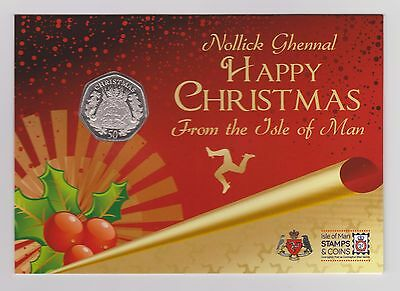 2016 ISLE OF MAN CHRISTMAS PUDDING 50p COIN IN GIFT PACK - FREE P&P - IoM MANX