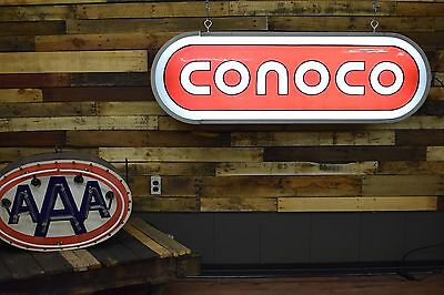 VINTAGE 1970's CONOCO OIL GAS STATION ADVERTISING SIGN Light NICE SHAPE Bright