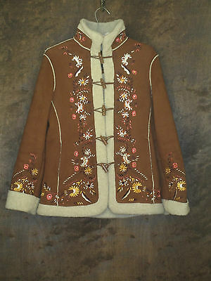 1 madison Women's Small Brown Embroidered Toggle Button Coat