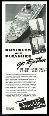 1938 SS Normandie ship photo French Line cruise ship travel ad