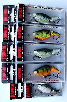 Lot of 5 Authentic RAPALA Jointed Shad Rap Lures Assorted