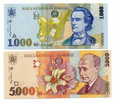 ROMANIA 1000 and 2000 Lei - A Set of 2 Crisp UNC Banknotes