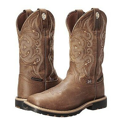 GSL9050 Justin Wmns Brown George Strait Waterproof Cowboy Boots Tan Accents NEW