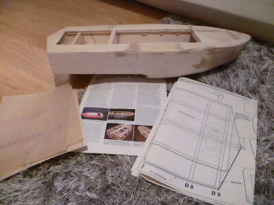 Model Boat Part Built**rare Model*with Plans To Complete*model Darby Hydroplane