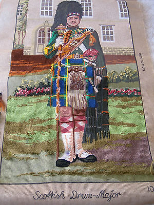 "VINTAGE KINETIC WOOLWORK TAPESTRY CANVAS ""SCOTTISH DRUM-MAJOR"" 1986 to COMPLETE"