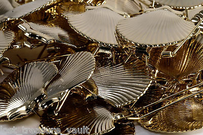 VTG Lot Clam Shell HairBarrette 42 Piece Need Soldering