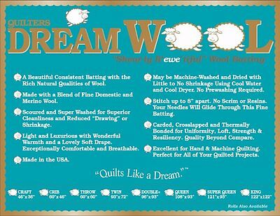 Quilt Batting Quilters Dream Wool Batting~Twin Size Quilting Crafting Sewing