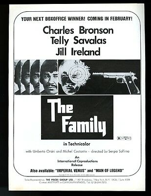 1973 Charles Bronson photo The Family movie release vintage trade print ad