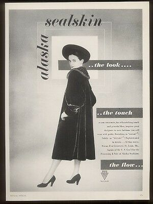 1948 Fouke fur coat photo vintage fashion print ad