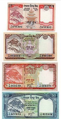 NEPAL 5 / 10 / 20 and 50 Rupees   - A Set of 4 Crisp UNC Banknotes