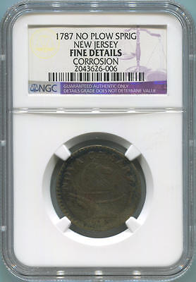1787 No Plow Sprig New Jersey Colonial. NGC Fine Details