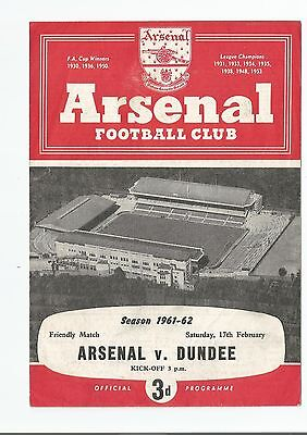 PROGRAMME  2 PAGE FRIENDLY ARSENAL v DUNDEE FEB 1962