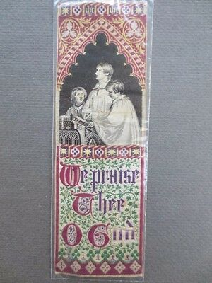 Antique BOOKMARK Woven Silk Stevengraph Religious Choirboys We Praise Thee O God