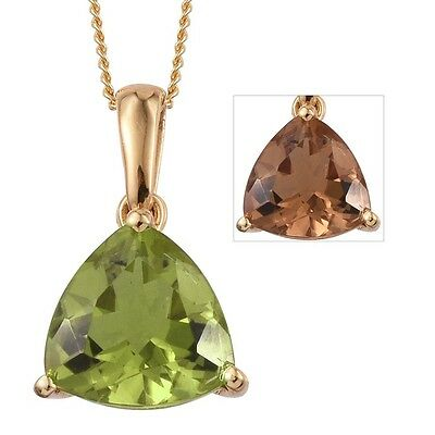 TJC Alexite Solitaire Pendant With Chain in 14K Gold Overlay Sterling Silver