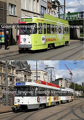 7x5in GLOSSY TRAMWAY PHOTOGRAPHS X 2 - ANTWERP PCC CARS 7047 & 7159