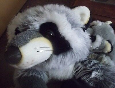 big PLUSH RACCOON valentine STUFFED animal TOY nursery GIFT realistic MAMA BABY