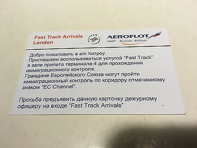 Aeroflot Russian Airlines London Heathrow T4 Fast Track Immigration Pass