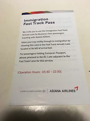 Asiana Airlines London Heathrow T2 Fast Track Immigration Pass