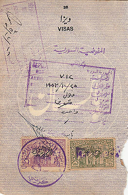 1952 Syria 250 And 500 Qirish O/p And Italy Revenue Fiscal Stamps On Document.