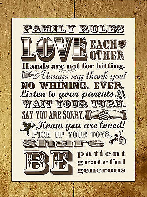 Metal Sign Retro vintage Shabby Chic style Family rules love wall door plaque