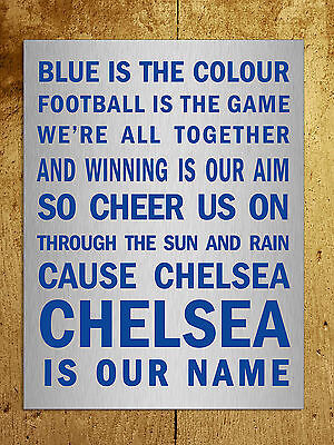 Metal sign Chelsea Blue is the colour song Metallic decorative wall plaque