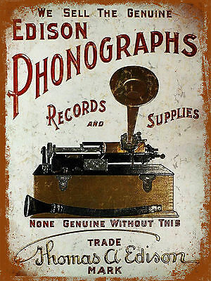 vintage retro style Phonographs poster image metal sign tin wall door plaque