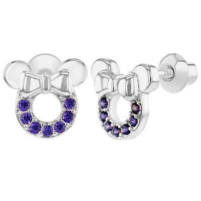 864399c51 Rhodium Plated Purple Little Mouse Screw Backs Safety Baby Kids Earrings